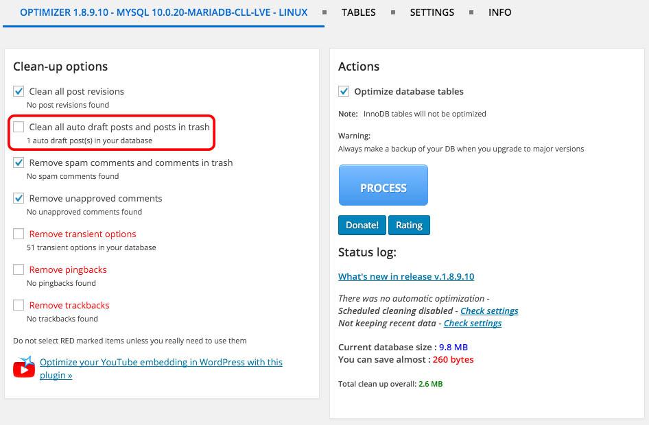 Πώς να βελτιστοποιήσετε εύκολα σας WordPress βάση δεδομένων - Εικόνα 3 - Καθηγητής-falken