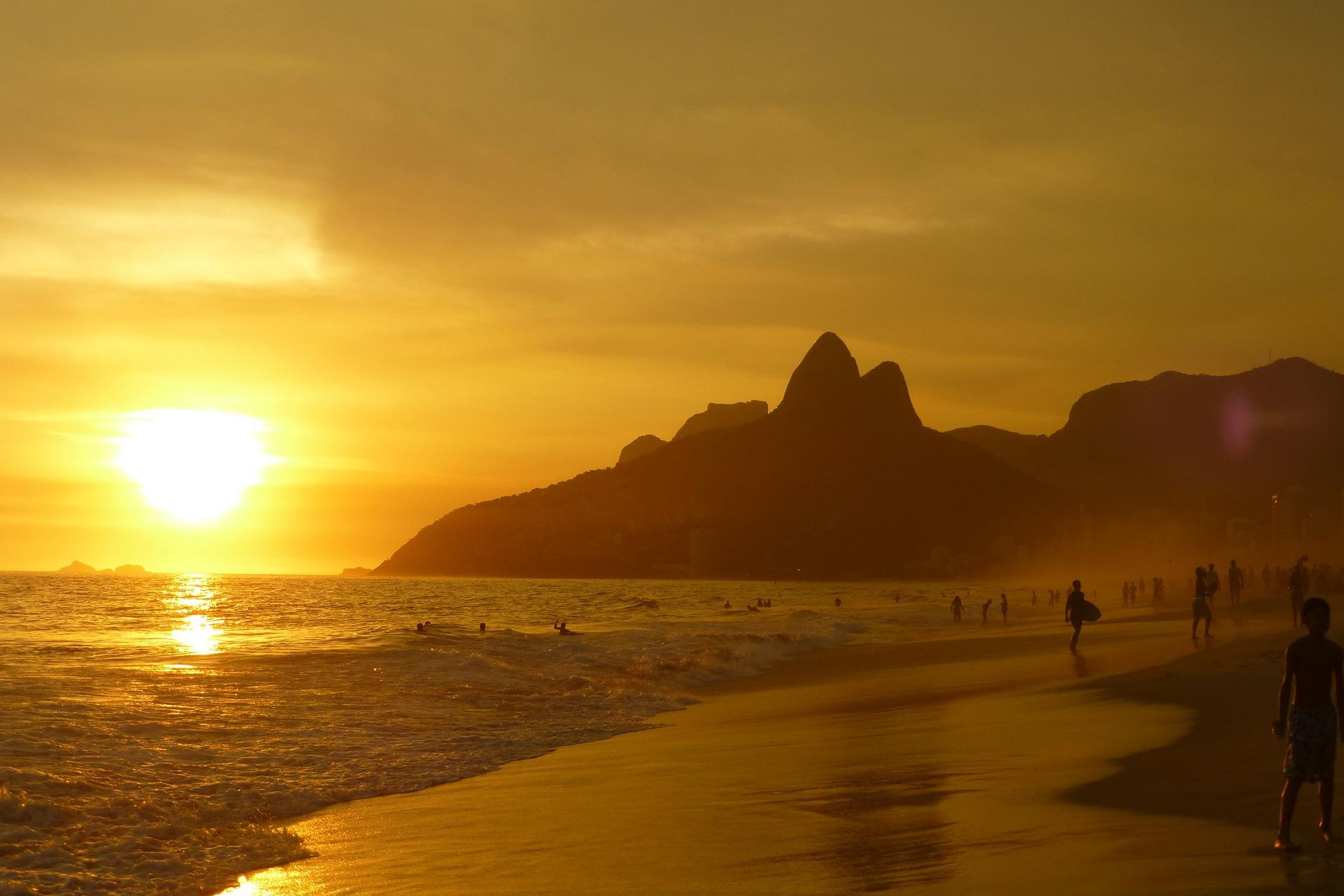 Ipanema, Vacanze Rio de janeiro, Spiaggia, Tramonto, Sole, montagne, Giallo - Sfondi HD - Professor-falken.com