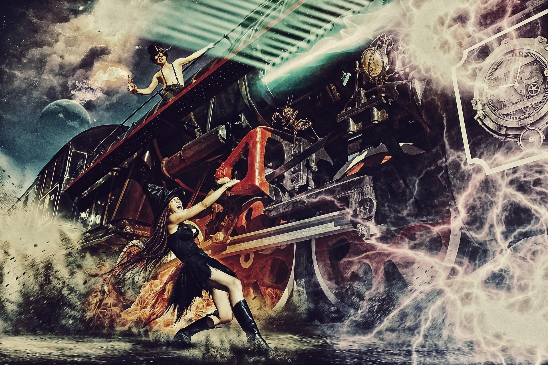 strega, treno, fuoco, macchina del tempo, surreale, Portal, energia elettrica - Sfondi HD - Professor-falken.com