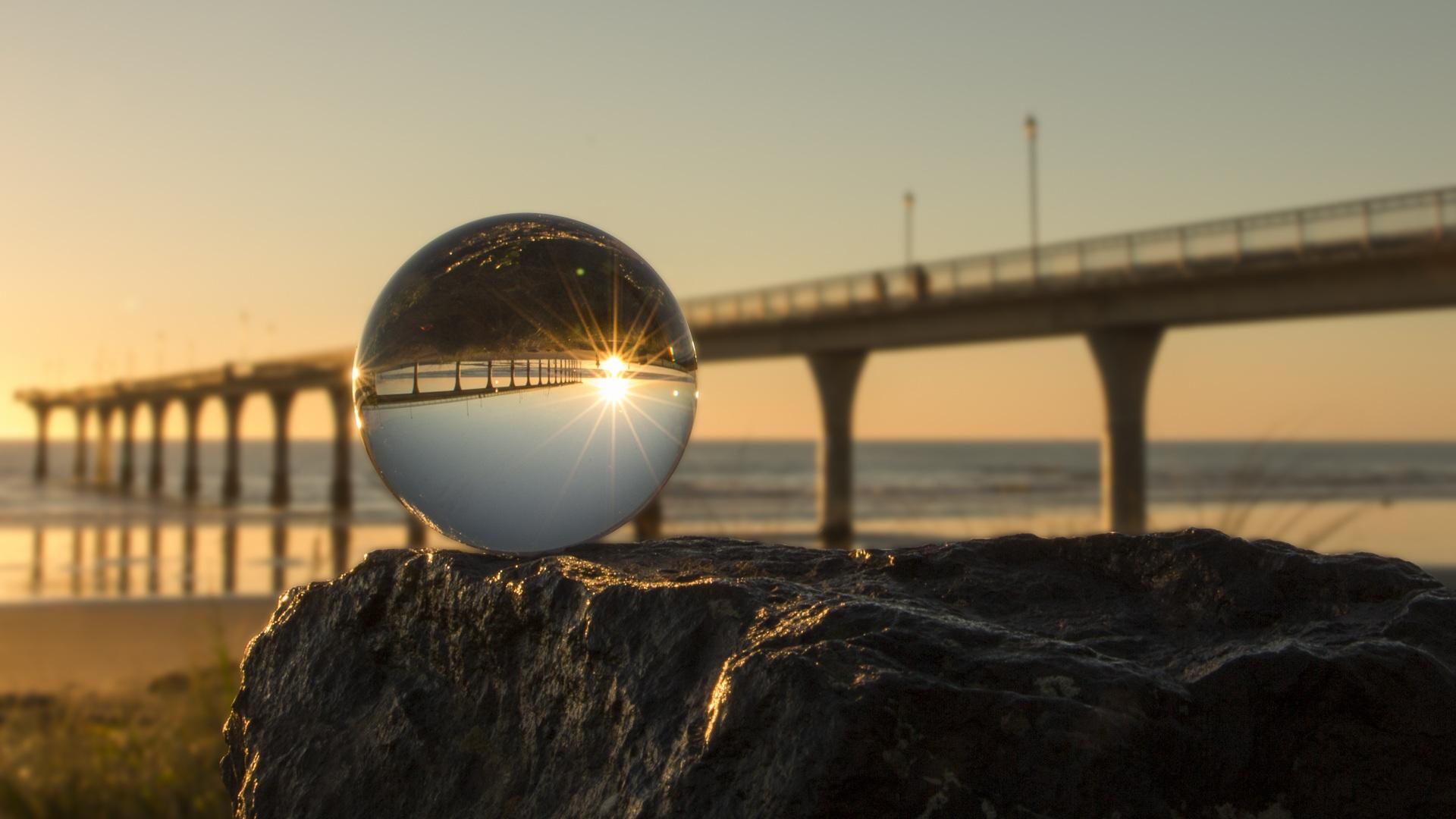 नई ब्राइटन, क्रिस्टल बॉल, पुल, सागर, चमक, आकाश, पत्थर - HD वॉलपेपर - प्रोफेसर-falken.com