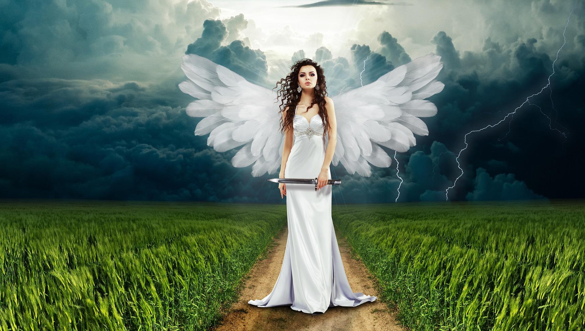 Άγγελος, γυναίκα, στιλέτο, φτερά, σύννεφα - Wallpapers HD - Professor-falken.com