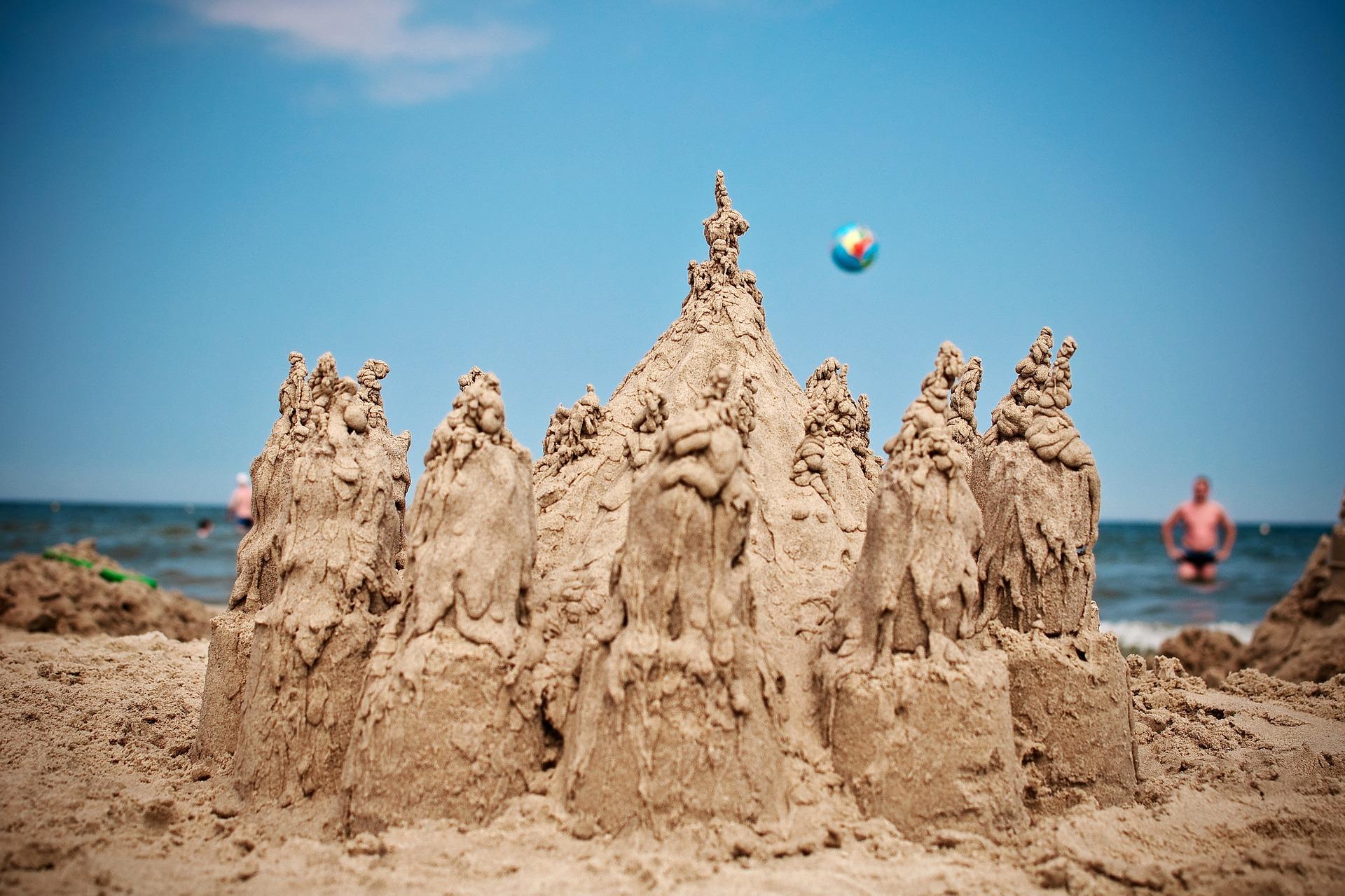 Castello di sabbia, Spiaggia, Mare, acqua, estate - Sfondi HD - Professor-falken.com