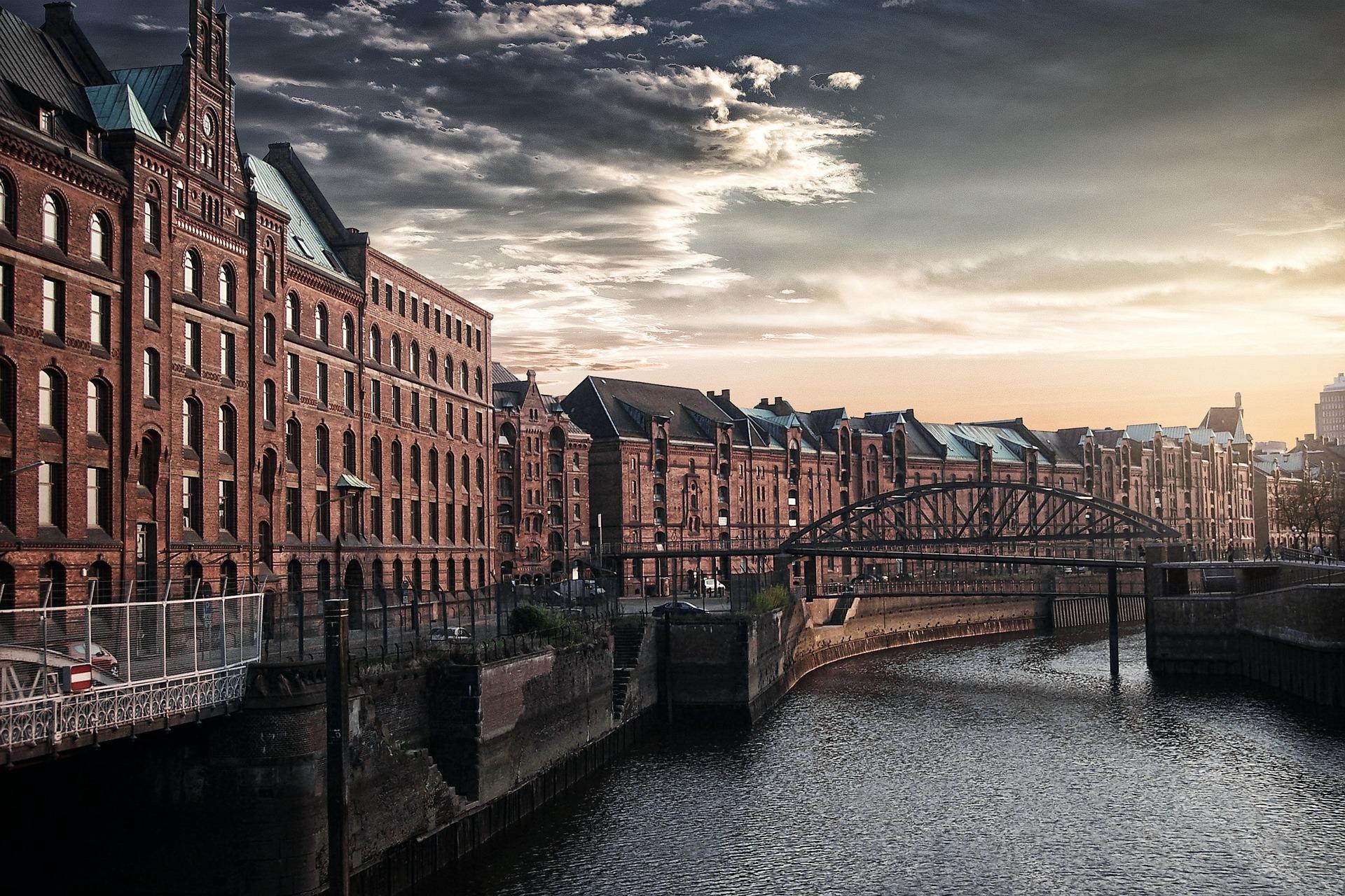 市, 川, ブリッジ, 空, hamburgo - HD の壁紙 - 教授-falken.com