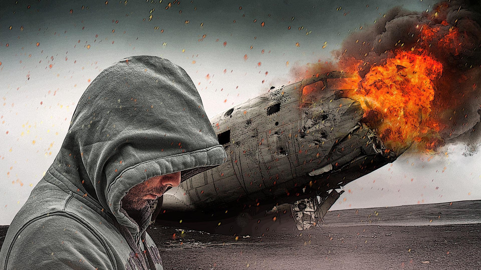 男, 航空機, 影響, 破壊, 火, 爆発 - HD の壁紙 - 教授 falken.om