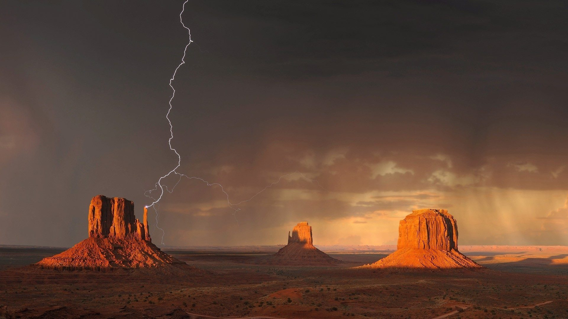 Sturm, Tal, Ray, Wolken, Monument valley - Wallpaper HD - Prof.-falken.com
