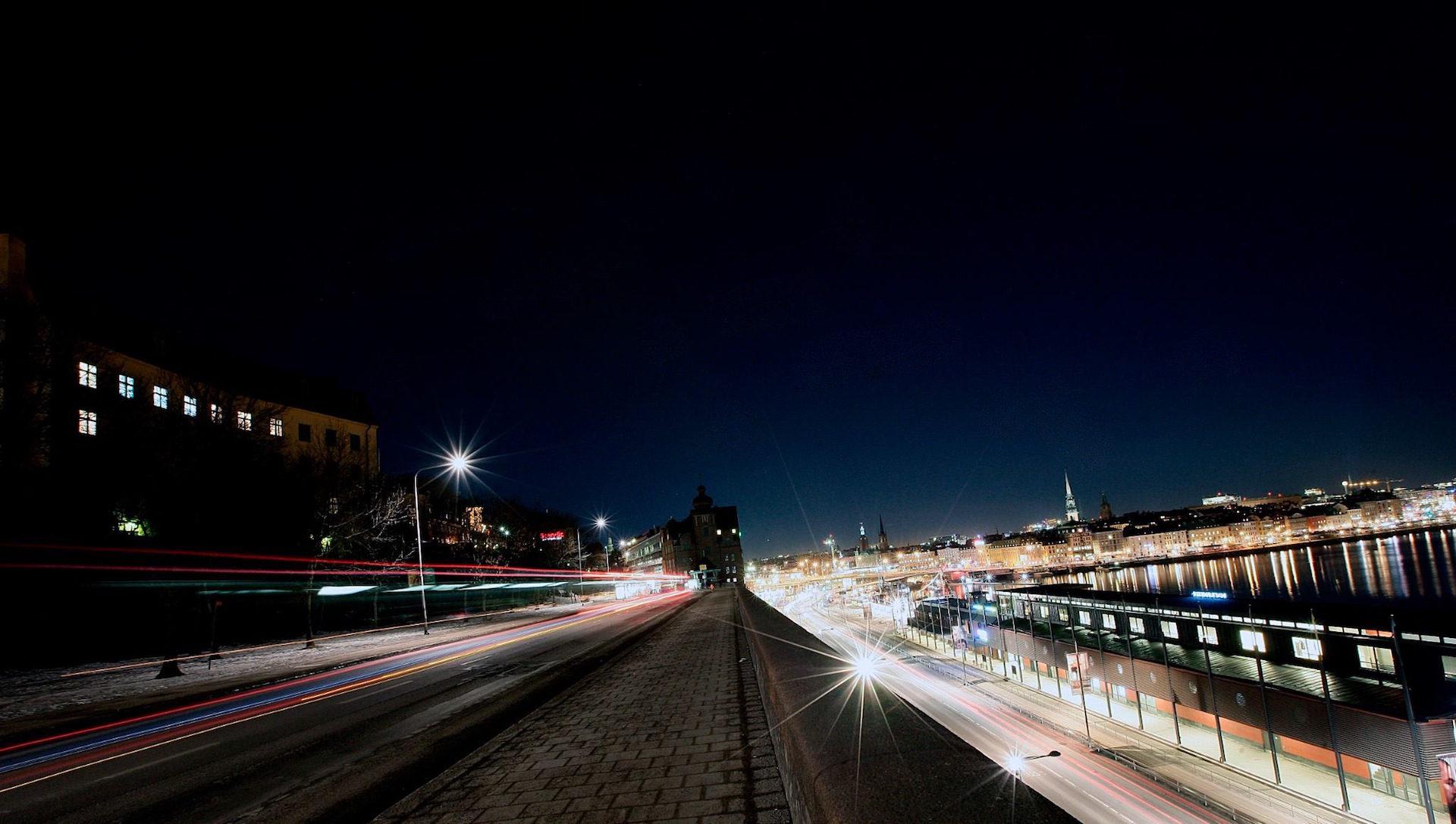 रात, शहर, रोशनी, यातायात, halos - HD वॉलपेपर - प्रोफेसर-falken.com