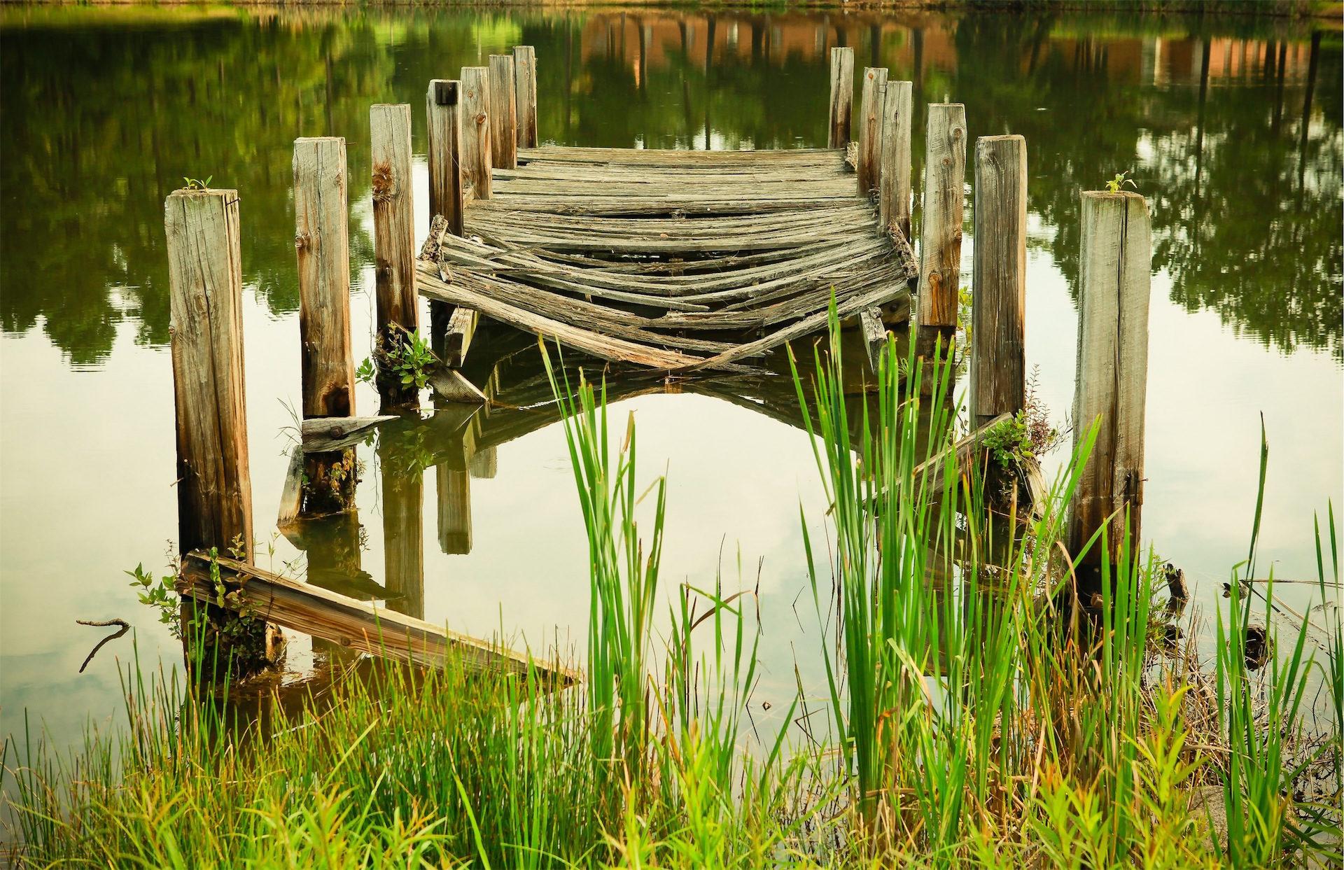 Brücke, alt, gebrochen, Lake, Reflexion - Wallpaper HD - Prof.-falken.com