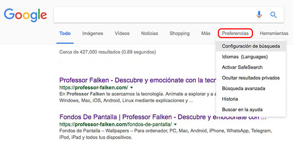 Google での検索の 1 ページあたりの結果の数を増やす方法 - イメージ 2 - 教授-falken.com