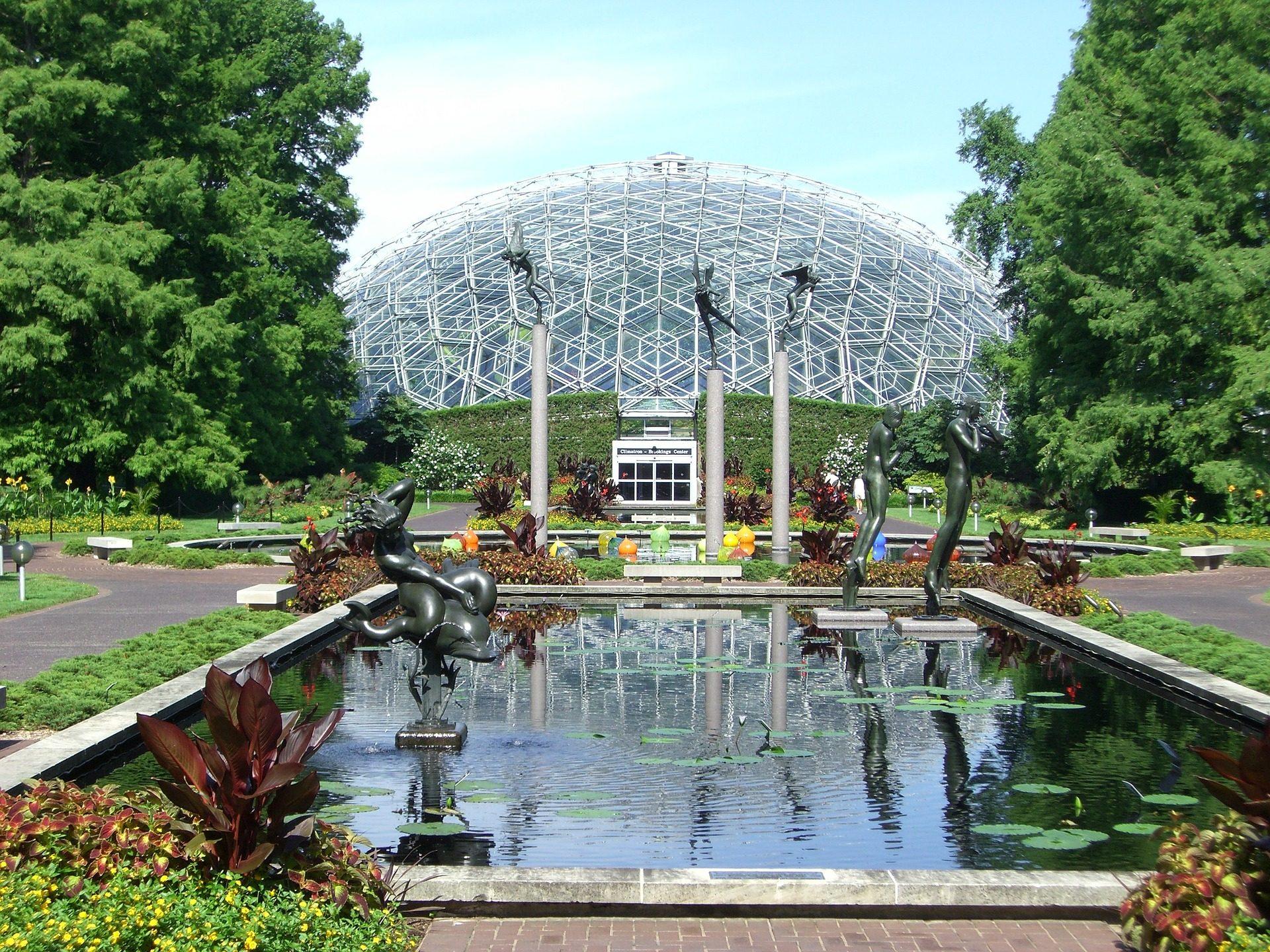 Giardini, costruzione, Cupola, fonte, sculture, St. louis, Missouri - Sfondi HD - Professor-falken.com