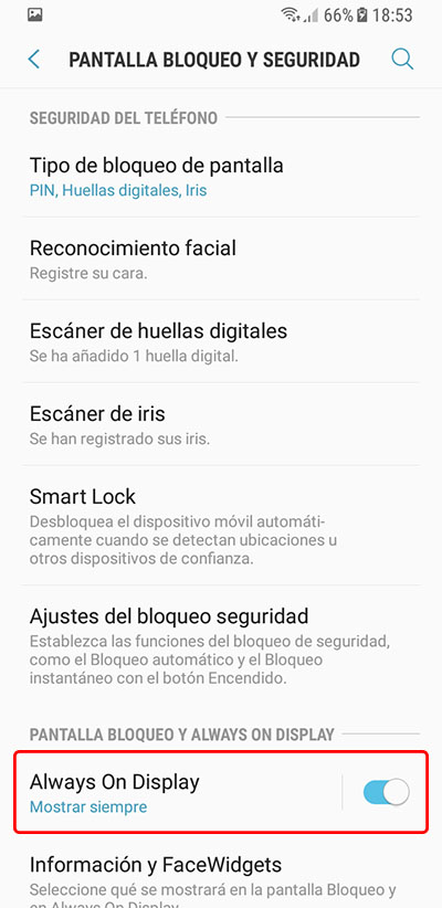 Cómo activar o desactivar 'Always on Display' en tu Samsung S7 en adelante - 图像 3 - 教授-falken.com